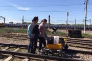 The onsite testing OKOndt GROUP inspection railway trolley UDS2-73 for ultrasonic rail flaw detection