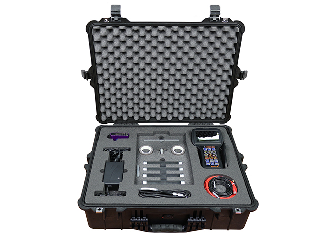 ET portable flaw detector Eddycon C and its additional components in the storage case